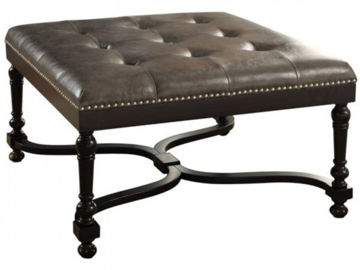 Picture of CAMDEN GREY LEATHER OTTOMAN