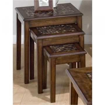 Picture of BROWN MOSAIC NESTING CHAIRSIDE TABLE