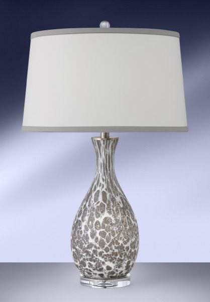 Picture of GREY & WHITE GLASS TABLE LAMP