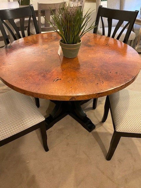 """Picture of HAMMERED COPPER TOP 48"""" ROUND TABLE"""